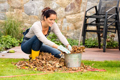 Smiling woman stuffing leaves pail autumn gardening. Smiling woman stuffing dry leaves into bucket autumn garden housework Stock Images