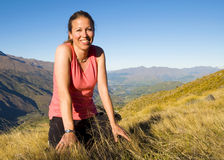 Smiling Woman Summer Beautiful Mountain Scenic Concept Stock Image