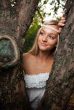 Smiling woman at summer park Royalty Free Stock Images