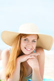Smiling Woman In Sun Hat At Beach Royalty Free Stock Image