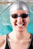 Smiling woman swimmer Royalty Free Stock Photography