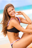 Smiling Woman in Swimsuit at the Beach stock photos