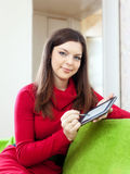 Smiling woman with tablet computer or electronic book Royalty Free Stock Photos