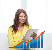Smiling woman with tablet pc and growth chart Stock Photos