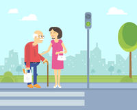 Smiling woman takes care of old man to help him cross the road. In the city on the green traffic light. Flat illustration of elderly people assistance and Royalty Free Stock Photography