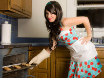 Smiling Woman Taking Cookies From Oven. A fun, 1950s-inspired image of a smiling young woman in an apron, dress, and pearls taking fresh baked cookies out of the Stock Image