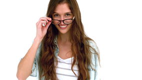 Smiling woman taking off eyeglasses stock footage