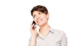 Smiling Woman Talking On A Mobile Phone Royalty Free Stock Image
