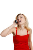 Smiling woman talking on the phone Stock Image
