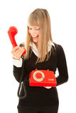 Smiling woman with telephone Stock Photography