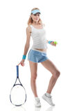 Smiling woman with tennis racket isolated Stock Images