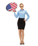 Smiling woman with text bubble of american flag Royalty Free Stock Photo