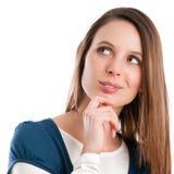 Smiling woman thinking Stock Photo