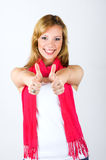Smiling woman with thumbs up Stock Photo
