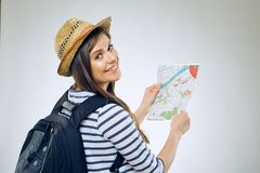 Smiling woman tourist with backpack Stock Photo