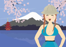 Smiling woman tourist near Mount Fuji in Japan Stock Photography
