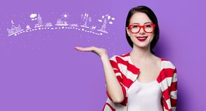Smiling woman with travel route Stock Image