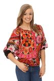 Smiling woman in trendy blouse. Smiling young blonde woman posing in trendy blouse Stock Photos