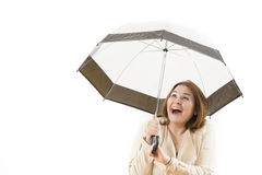 Smiling Woman Under Umbrella Stock Photos