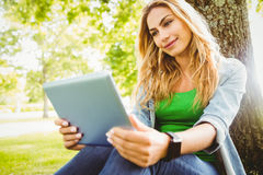 Smiling woman using digital tablet while sitting under tree Royalty Free Stock Image
