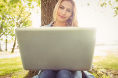 Smiling woman using laptop while sitting under tree Stock Photos