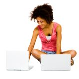 Smiling woman using laptops Royalty Free Stock Images
