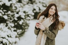 Smiling woman using phone in park at cold winter day Stock Photo