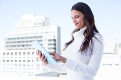 Smiling woman using tablet pc Stock Photos