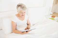 Smiling woman using tablet Stock Images
