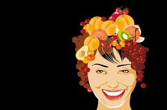 Smiling woman. Vector image of smiling woman with  fruits in coiffure Stock Photos