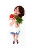 Smiling woman with vegetables Stock Image