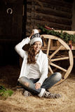 Smiling woman in the village barn Stock Photos