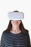 Smiling woman with vr headset Royalty Free Stock Photos