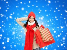 Smiling woman in warm clothers with shopping bags Royalty Free Stock Images