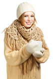 Smiling woman in warm clothing with mug Stock Photo
