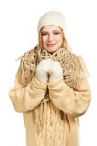 Smiling woman in warm clothing Stock Photo