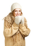 Smiling woman in warm clothing Royalty Free Stock Image