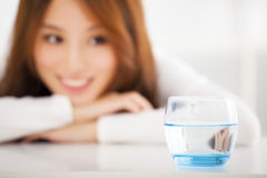 smiling woman watching the clean water Stock Photography