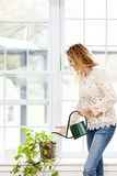 Smiling woman watering plant at home Royalty Free Stock Photo