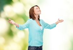 Smiling woman waving hands Royalty Free Stock Photo