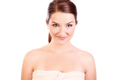 Smiling woman wearing bath towel Royalty Free Stock Photos