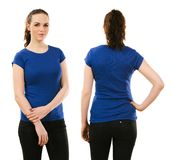 Smiling woman wearing blank blue shirt Royalty Free Stock Image