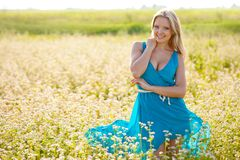 Smiling woman wearing blue dress on a field Royalty Free Stock Images