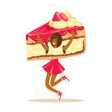 Smiling woman wearing cake costume, puppets food vector Illustration Royalty Free Stock Images