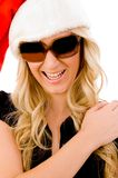 Smiling Woman Wearing Christmas Hat And Sunglasses Stock Photo