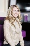 Smiling Woman Wearing Fashionable Knit Jacket Stock Photos