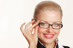 Smiling woman wearing glasses Royalty Free Stock Photo