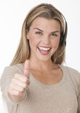 Smiling Woman Wearing Headset Royalty Free Stock Images