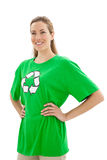 Smiling woman wearing a recycling symbol t-shirt Royalty Free Stock Photos