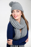Smiling woman wearing in scarf and hat Royalty Free Stock Photos